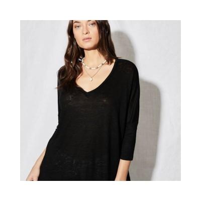 emilie v-hals bluse - black