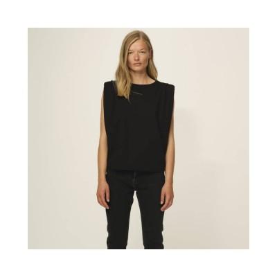casual shoulder tee - black