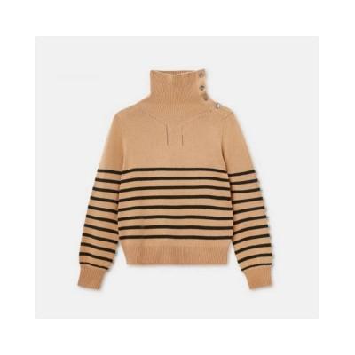 wool high neck sweater - camel
