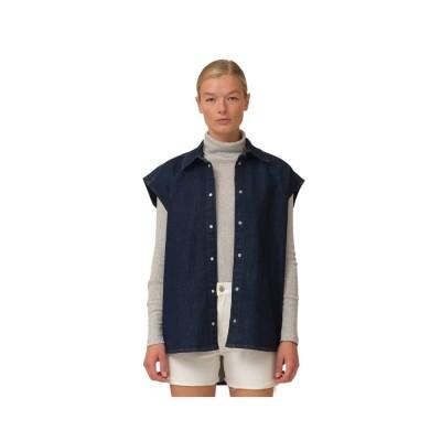 bowie oversize sl. less shirt - denim blue
