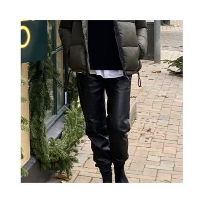 olivia skind bukser - black