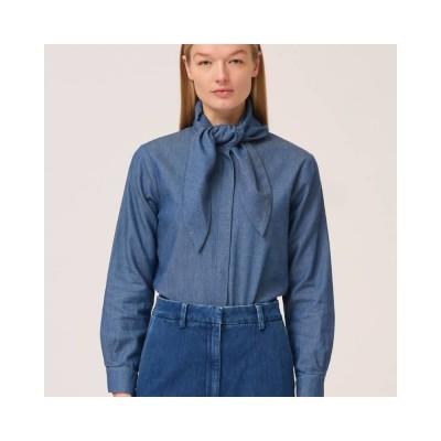 marston bow shirt - denim blue