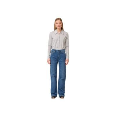 brown straight jeans - prato - denim blue