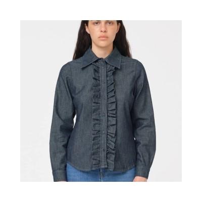 brown frill shirt - denim blue
