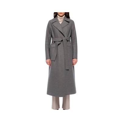long maxi coat pressed wool - grey melange